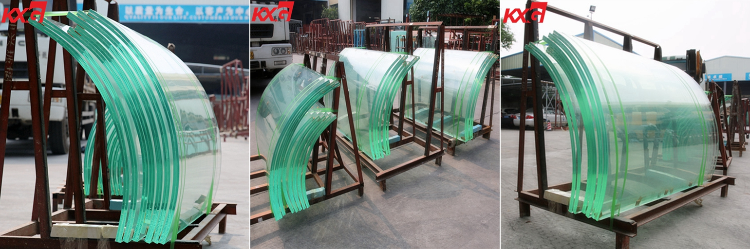 21.52 low iron curved tempered laminated glass