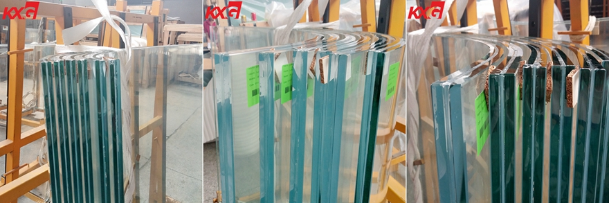 21.52mm extra clear curved tempered laminated glass