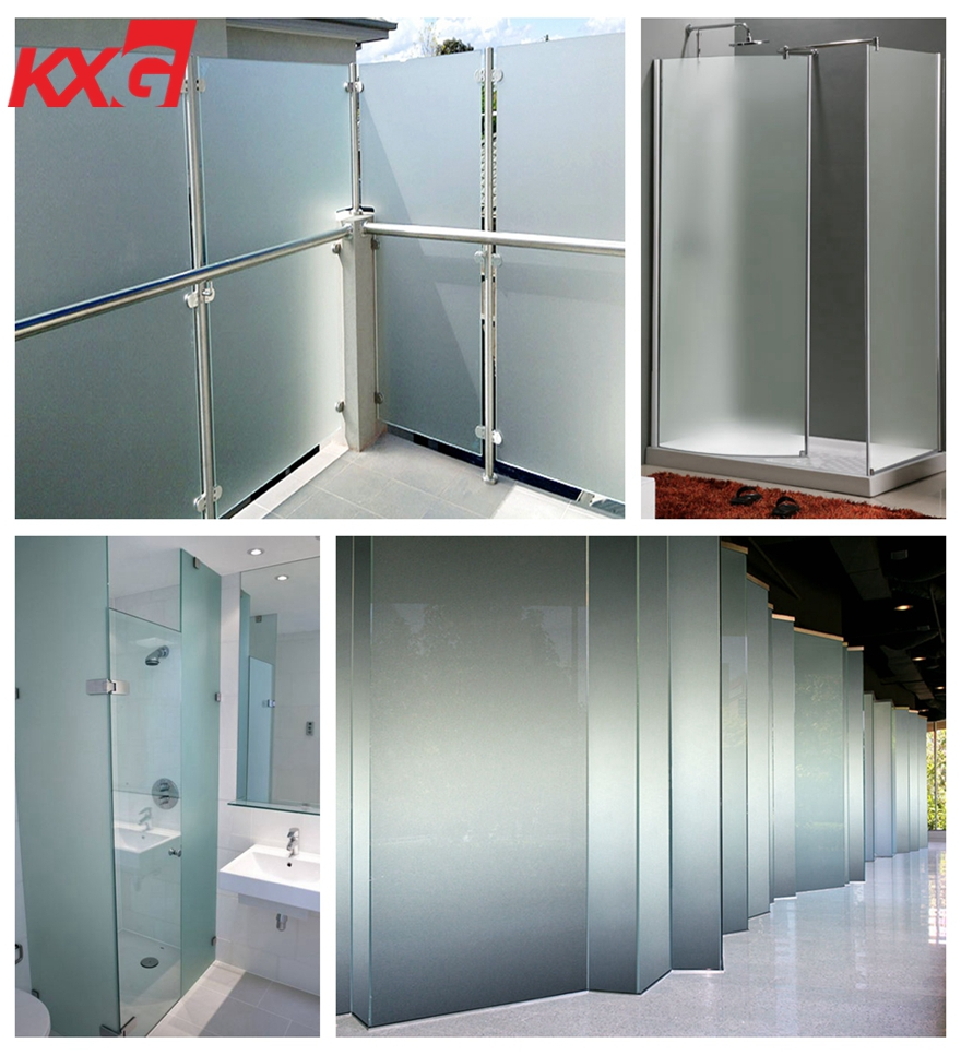 Acid-etched frosted glass balustrade supplier-safety railing glass