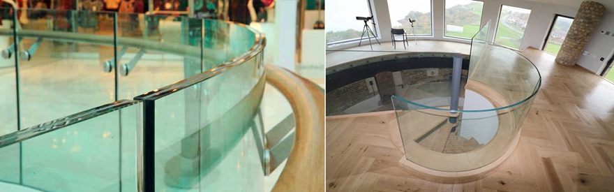 21.52mm extra clear curved tempered glass balustrade