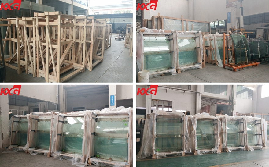 12mm curved toughened glass packing