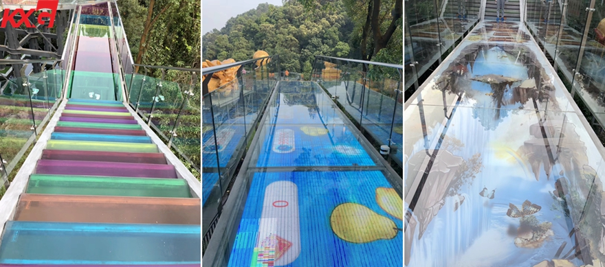 KXG multicolor PVB film toughened laminated glass bridge
