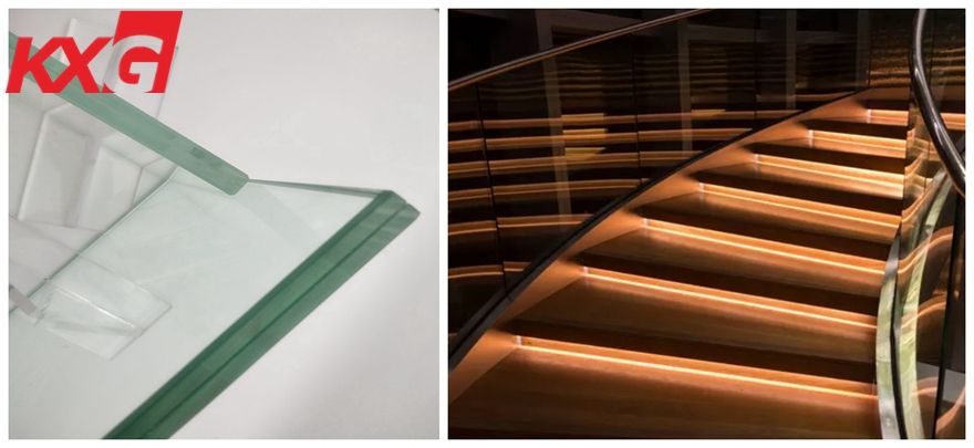 Clear laminated glass staircase