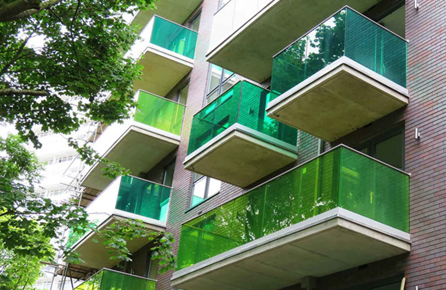 colored pvb film laminated glass balcony