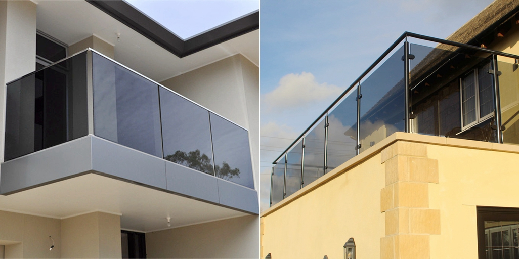 8mm dark gray tinted tempered glass balcony