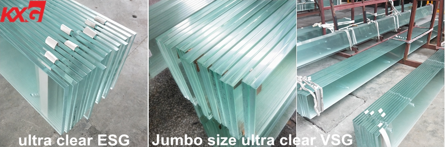 15+2.28SGP+15 extra clear tempered laminated glass
