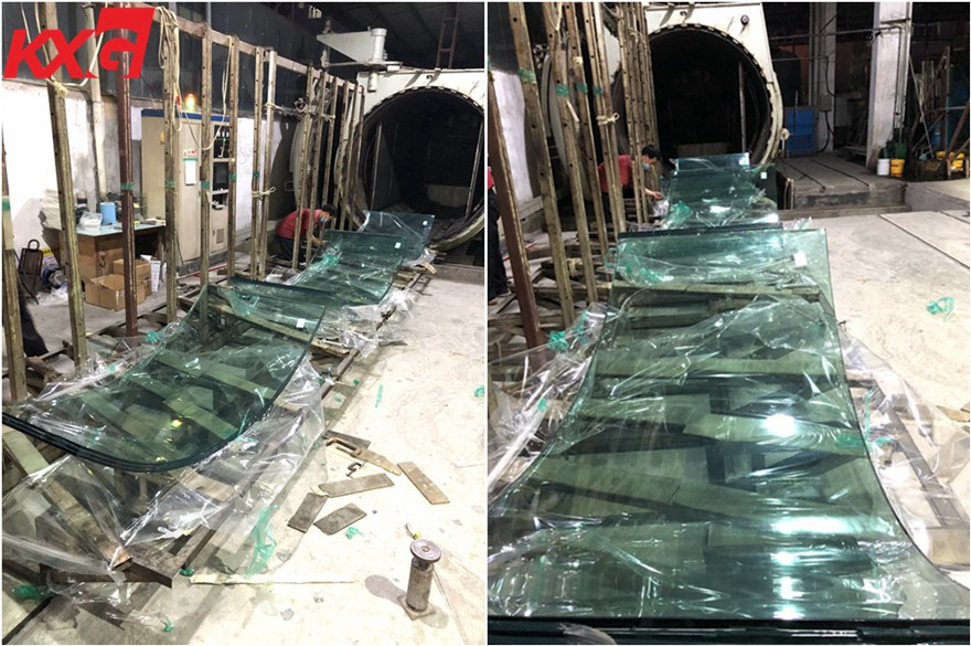SGP film triple curved tempered laminated safety glass--KXG