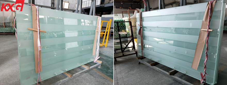 acid etched tempered safety glass door