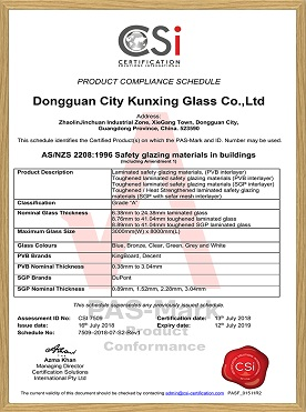 AS/NZS 2208:1995 Safety PVB SGP Laminated Glass
