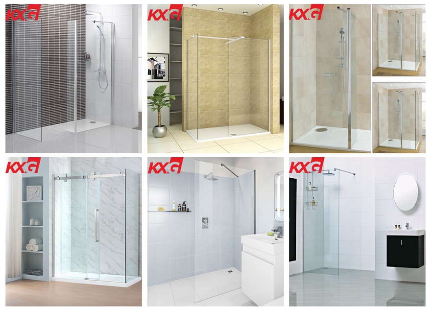 Factory price 12 mm flat and curved tempered glass for shower room door and bathroom with enclosure 03