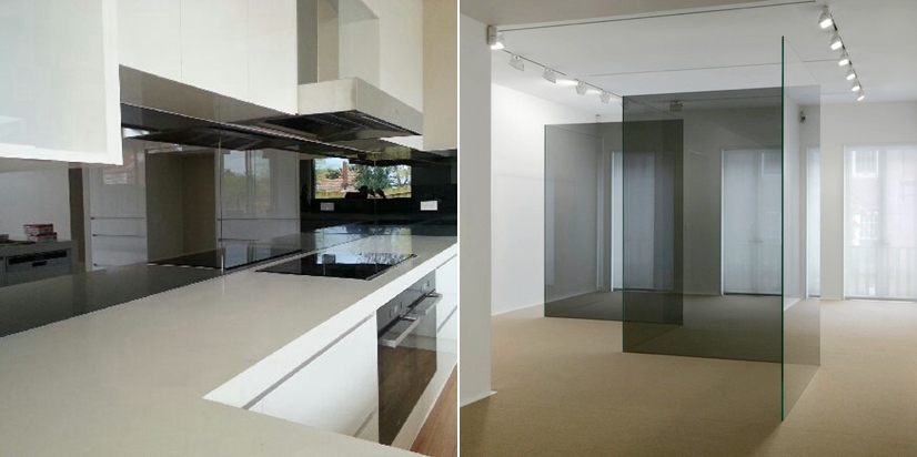 8mm gray tinted  splash back glass