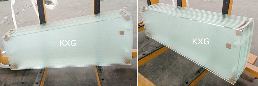 Low iron ultra clear anti slip glass stair tread