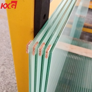 1/4 inch white color PVB film float laminated safety glass, 6.38mm white PVB film clear laminated glass, 331 white PVB film laminated glass factory
