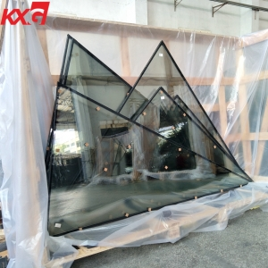 China building glass factory supply special-shaped tempered low e reflective insulated glass for skylights and facades
