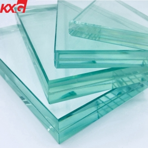 KXG factory price VSG 10mm+1.52+10mm safety toughened laminated glass, 21.52mm clear tempered laminated glass