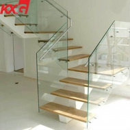 Indoor and outdoor anti-slip glass ultra-clear safety tempered laminated glass staircase