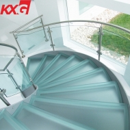 China Trapezoidal safety stair railing glass -spiral stair railing curved glass factory supplier factory
