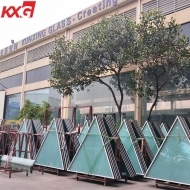 China Triangular 6mm+12A+6mm double clear silk screen printing tempered insulated glass panels for commercial windows and curtain walls factory
